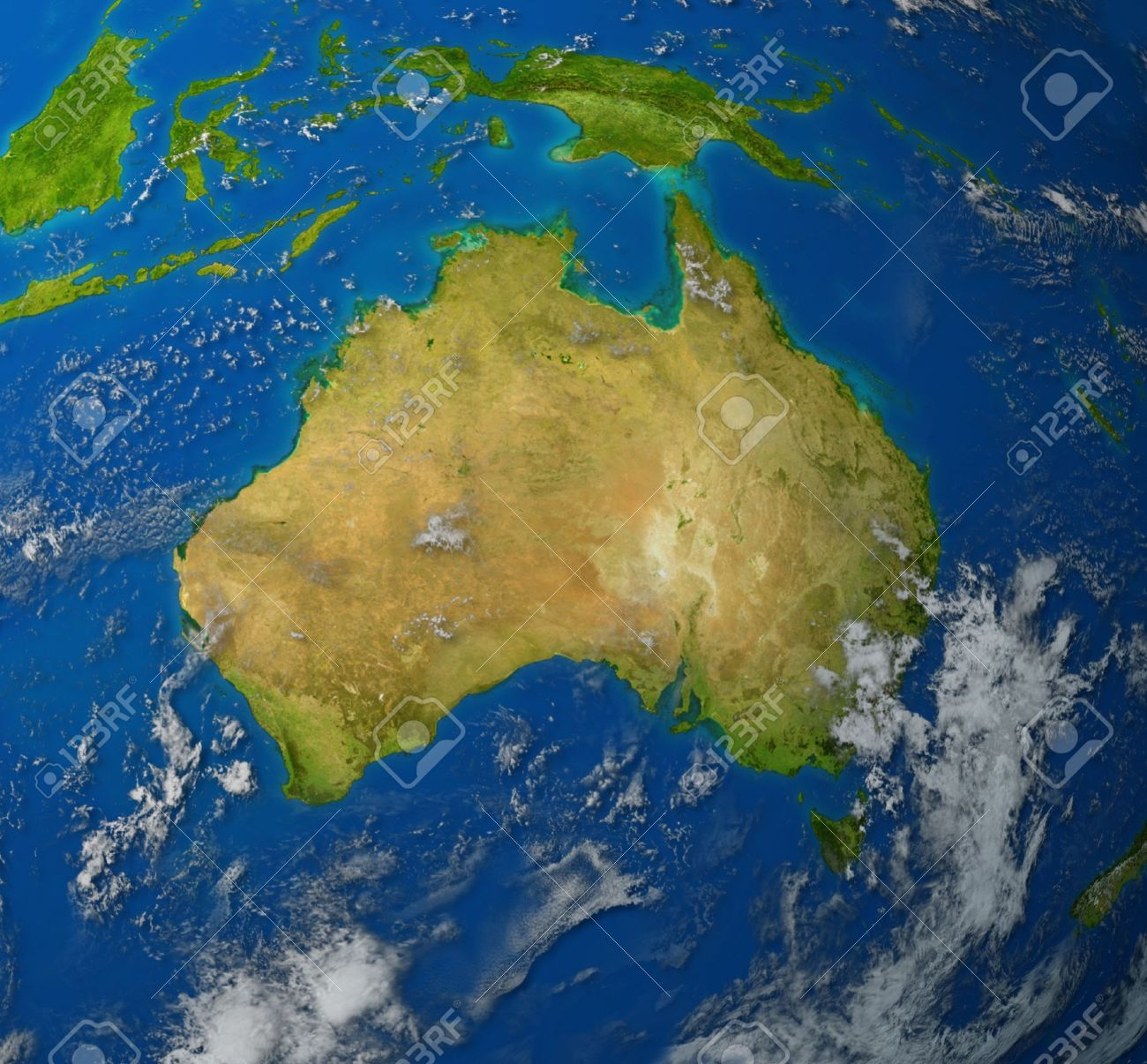 australia realistic map of the continent of oceana in the pacific region of asia representing the