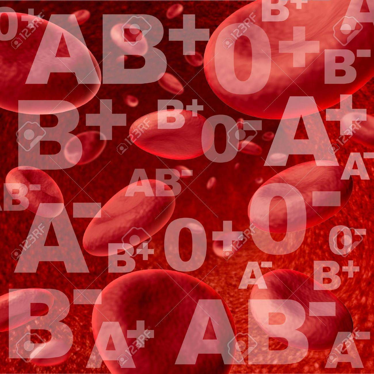 different blood group and types representing red blood cells flowing  through veins and human circulatory system