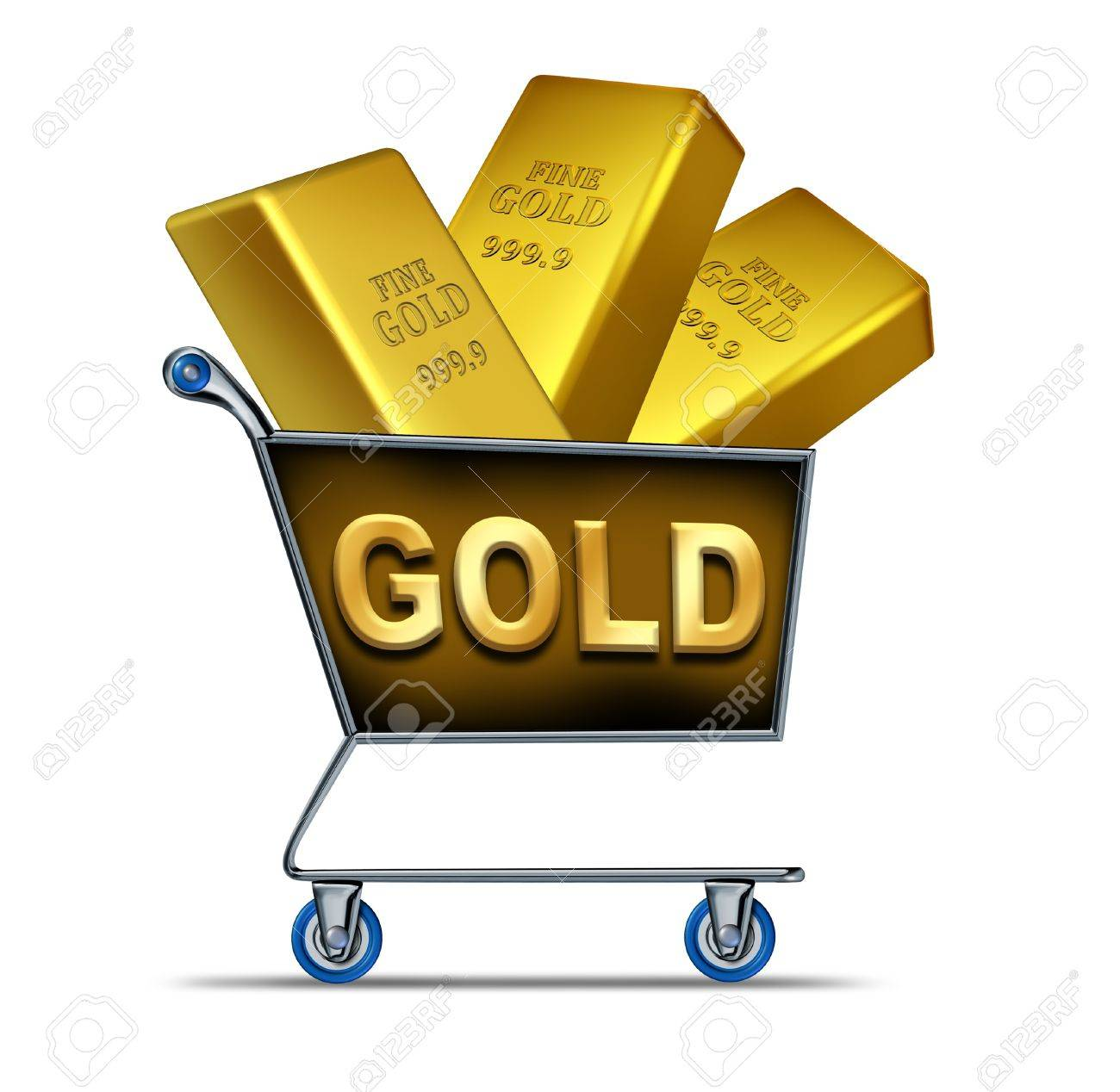 Shopping for gold symbol represented by a shop cart with golden shopping for gold symbol represented by a shop cart with golden bars inside representing the buying biocorpaavc Image collections