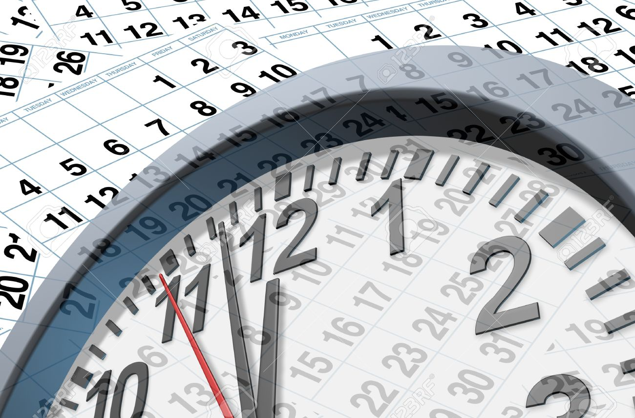 Deadlines and time symbol with calendar pages representing time and important dates in a month or days of the week represented by individual pages with numbers and a clock ticking fast with the hour minute and seconds clock hands.. Stock Photo - 10455233