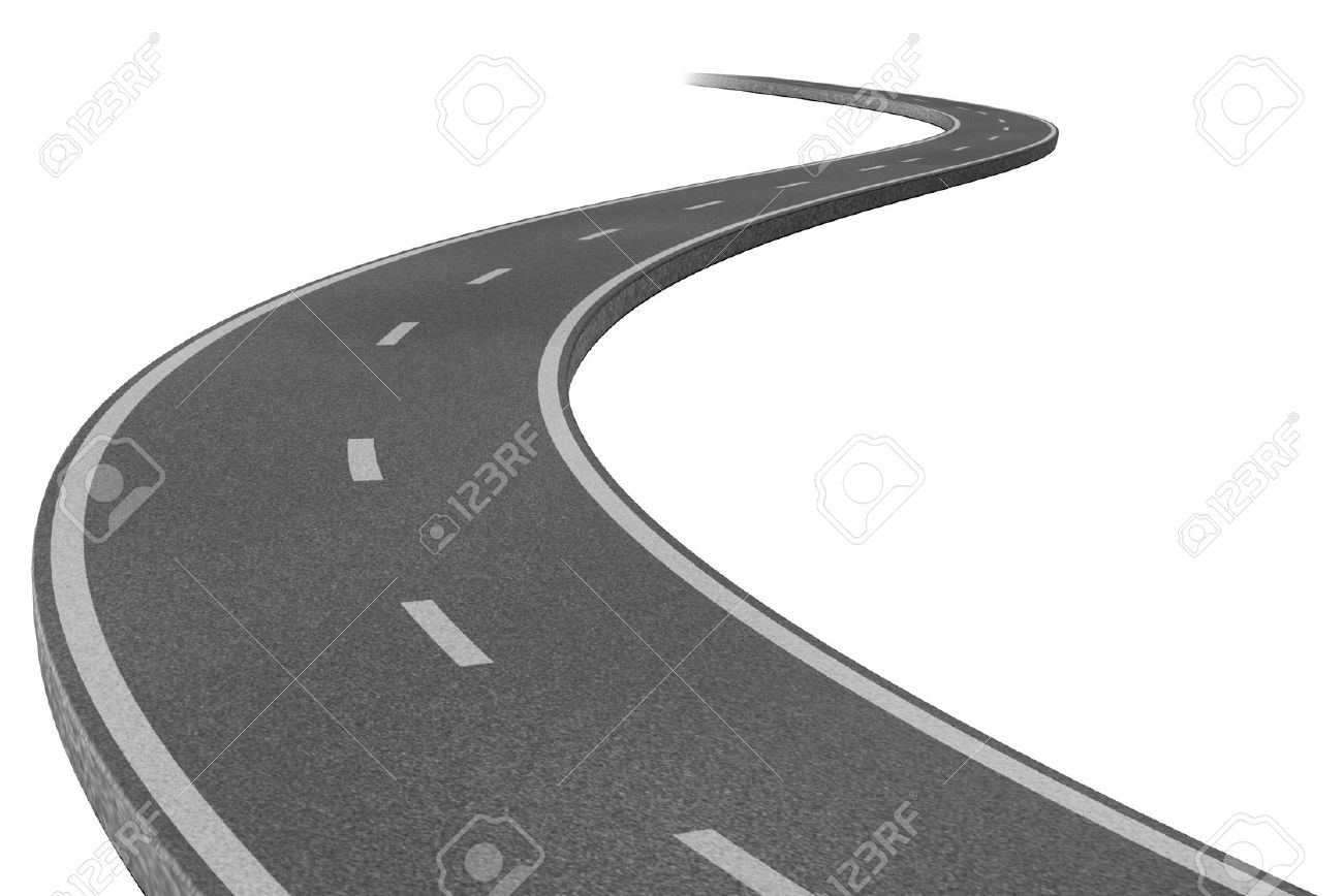 Curved highway road representing the concept of a planned strategic journey to a goal related destination represented by a single paved pathway with two lanes. Stock Photo - 10503696