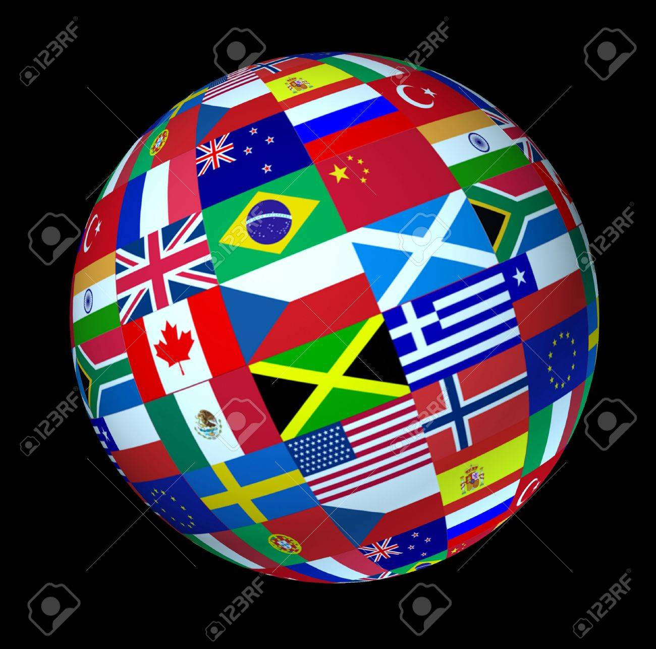 World flags sphere floating on a black background as a symbol