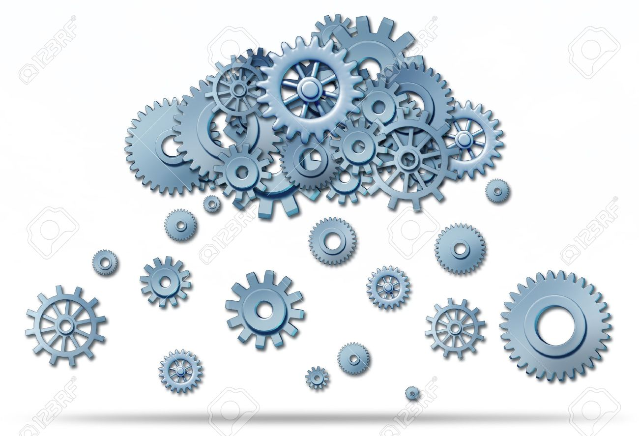 Cloud computing network symbol with a cloud and rain or snow in the form of gears and cogs representing the expansion of the global cloud computing technology. Stock Photo - 10503778