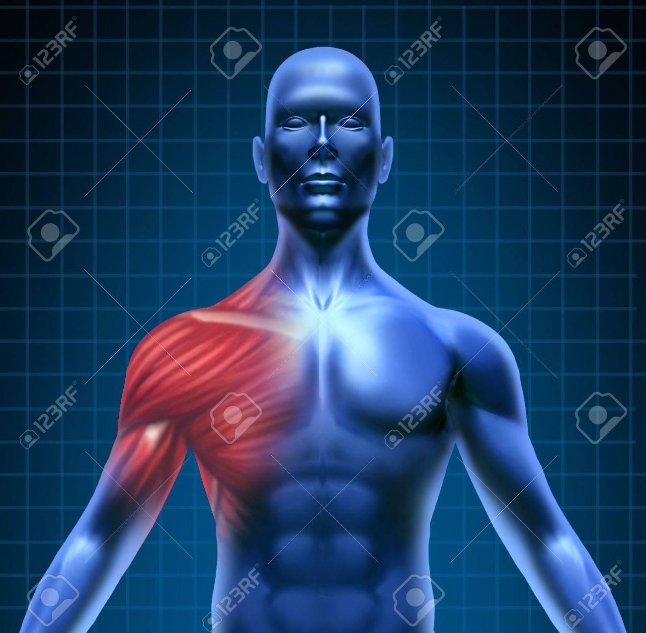 El Dolor Muscular Representado Por Un Concepto Azul Humano Con La ...