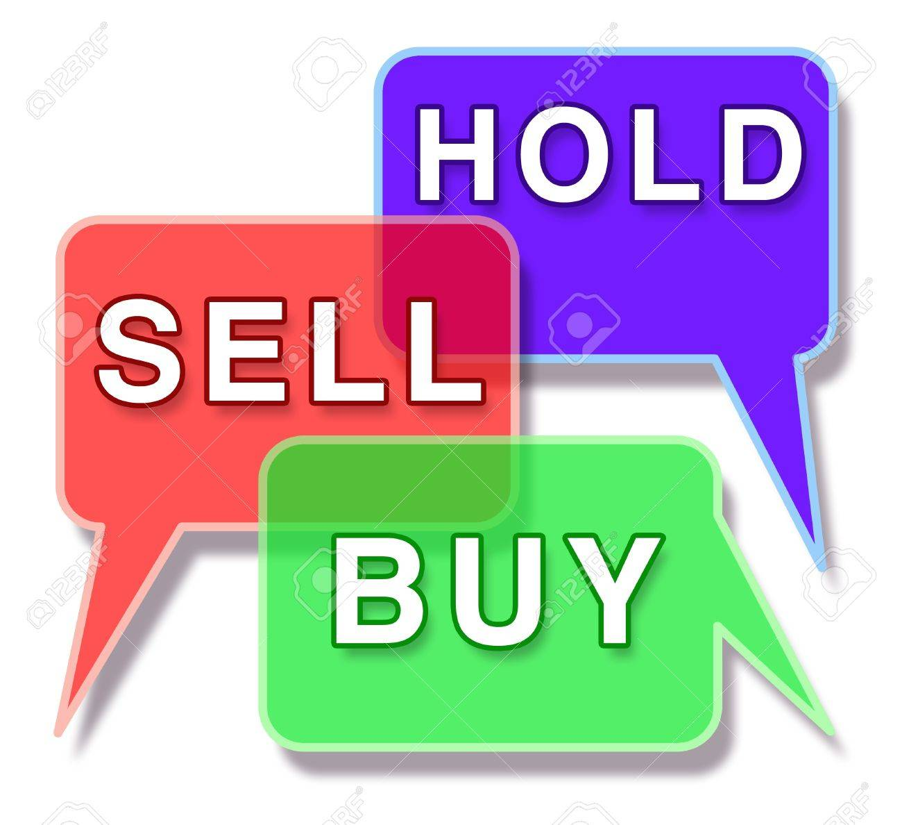 Investing and the stock market symbol represented by three word bubbles with the words hold buy and sell showing the concept of financial trade in the business world of an equities and mutual funds broker. Stock Photo - 10503732