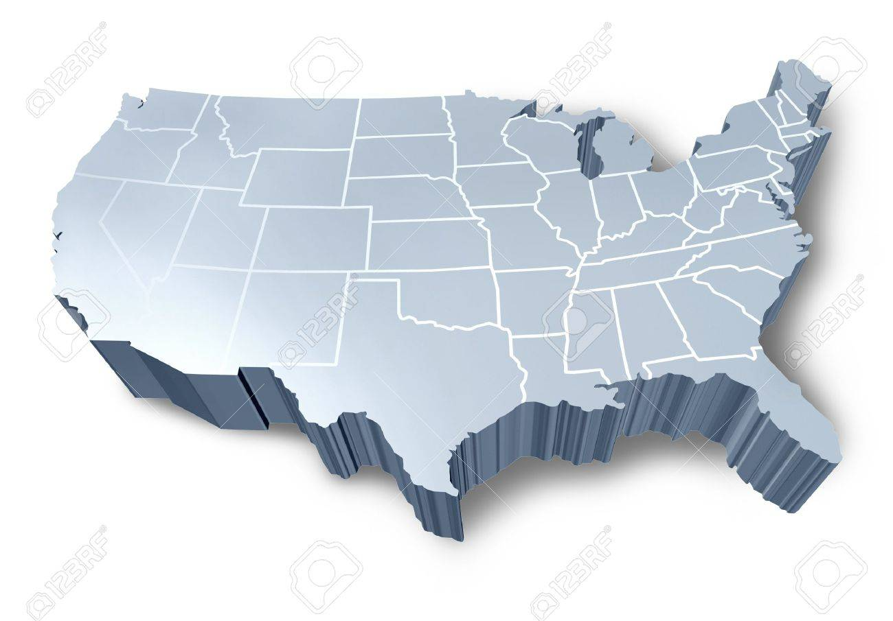 USA D Map Isolated Symbol Represented By A White And Grey - 3d us map