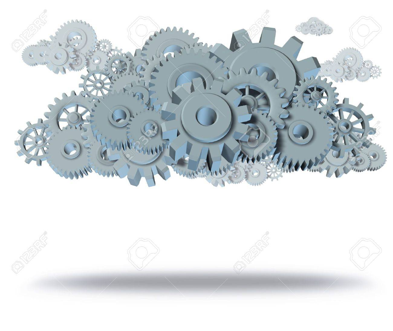 cloud computing symbol representing servers virtual apps for computers and mobile devices featuring gears and cogs isolated on white with shadow. Stock Photo - 10542721