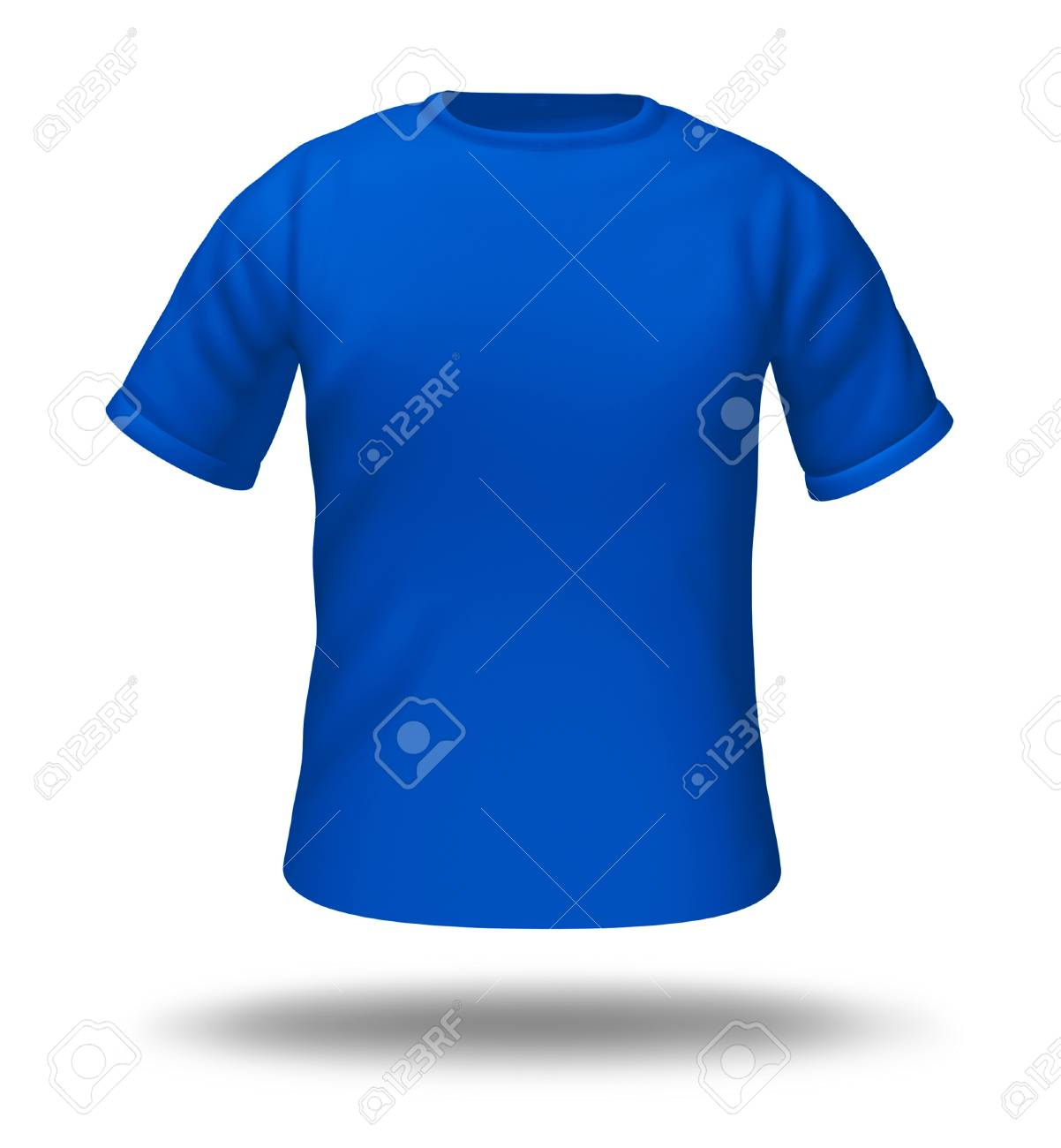 Single Blue T-shirt Isolated With Blank Material For Easy Editing ...