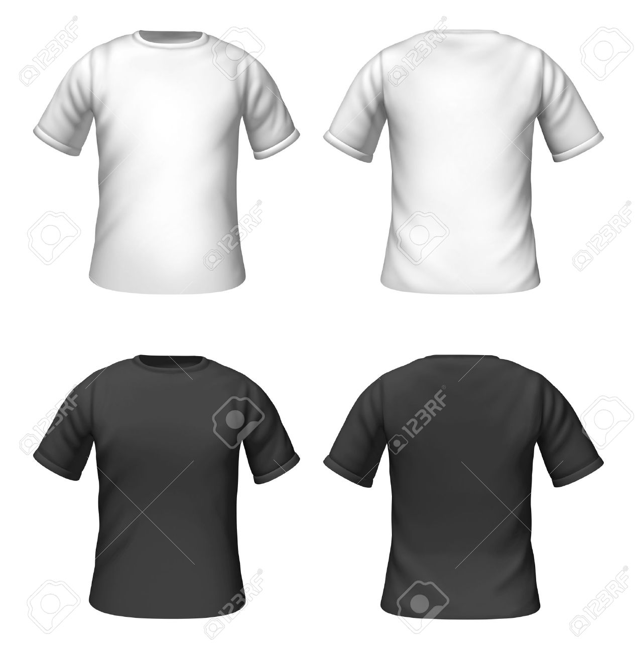 Black t shirt back and front template - Blank T Shirts Template With Black And White Colors Representing Front And Back Views Of