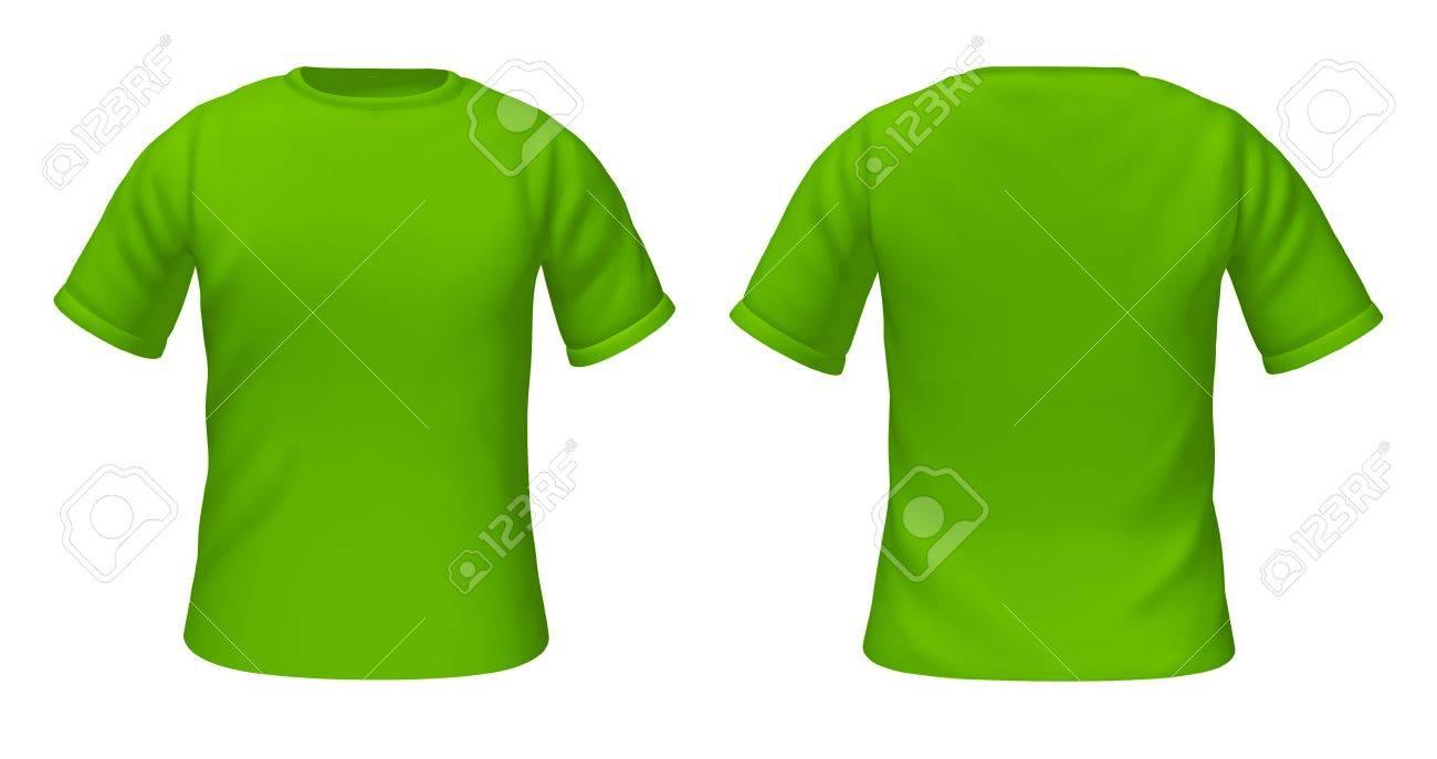 en blanco camisetas plantilla con el color verde de las opiniones de delante y por detrs