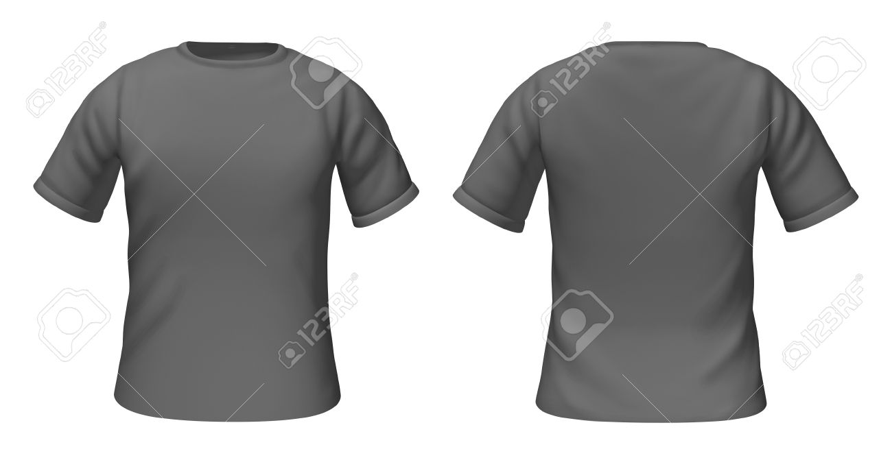 Blank black t shirt front and back - Blank T Shirts Template With Grey And White Colors Representing Front And Back Views Of