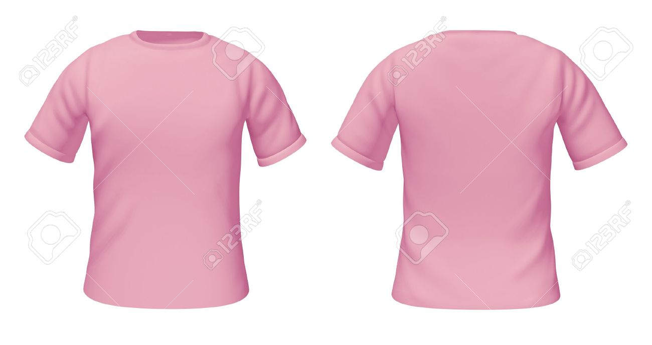 Black t shirt front and back plain - Blank T Shirts Template With Pink And White Colors Representing