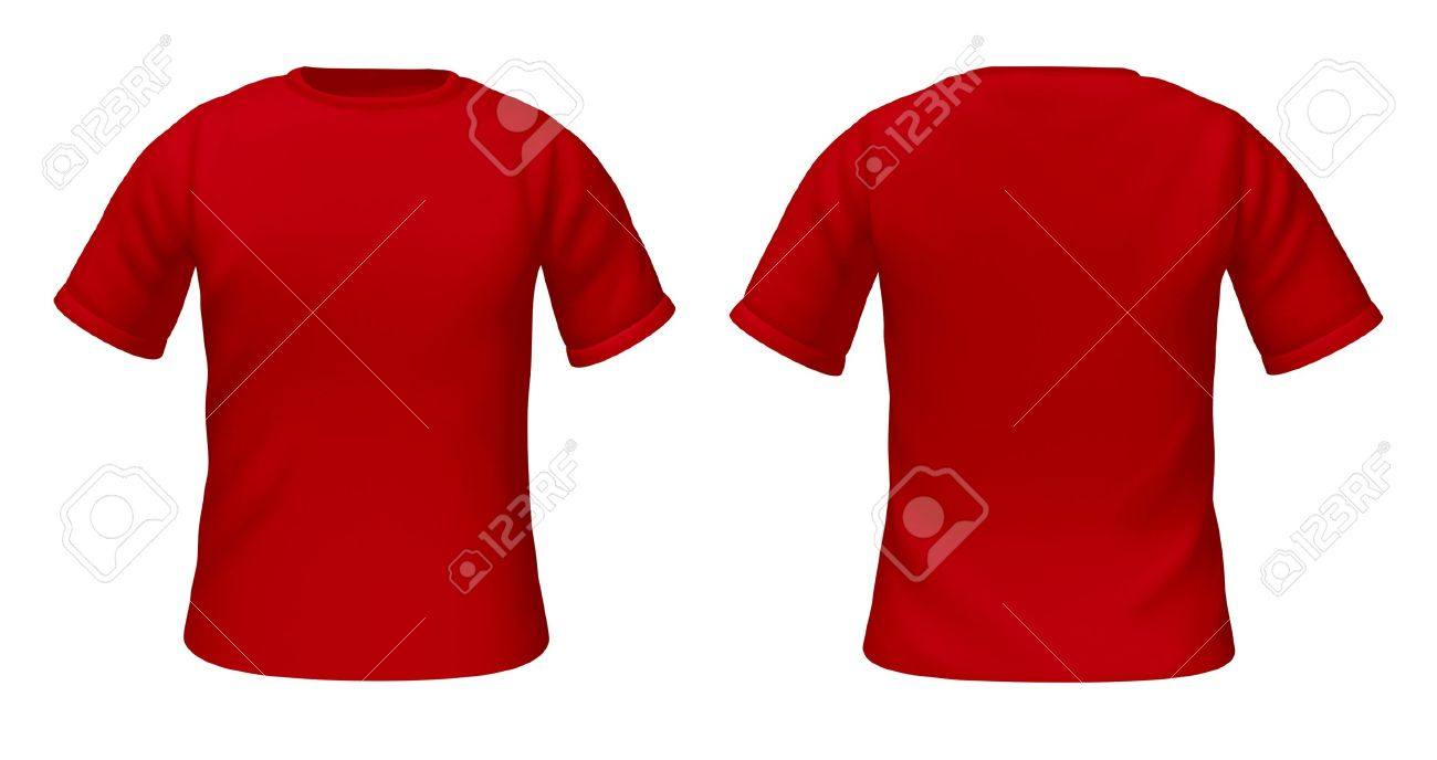 Blank T-shirts Template With Red Color Representing Front And ...