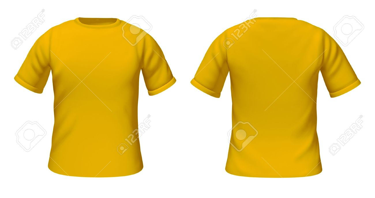 Blank T Shirts Template With Yellow And Gold Color Representing Front Back Views Of