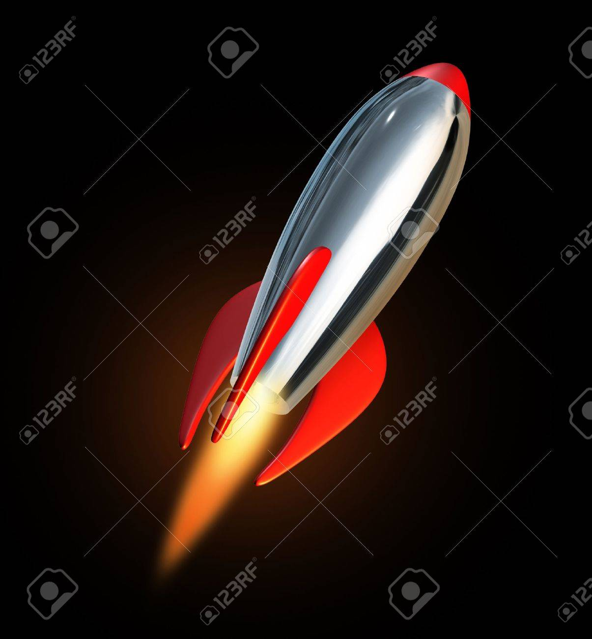 Blast off into space using a metal missile rocket spacecraft propelling into a black background representing new beginnings and charging towards the future ahead. Stock Photo - 10576938