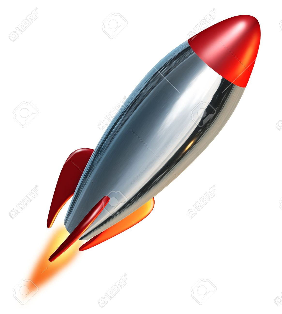 Rocket launch blast off representing a symbol of exploration and power from a metal missile spacecraft thrusting upwards into space with a combustion flame. Stock Photo - 10576935