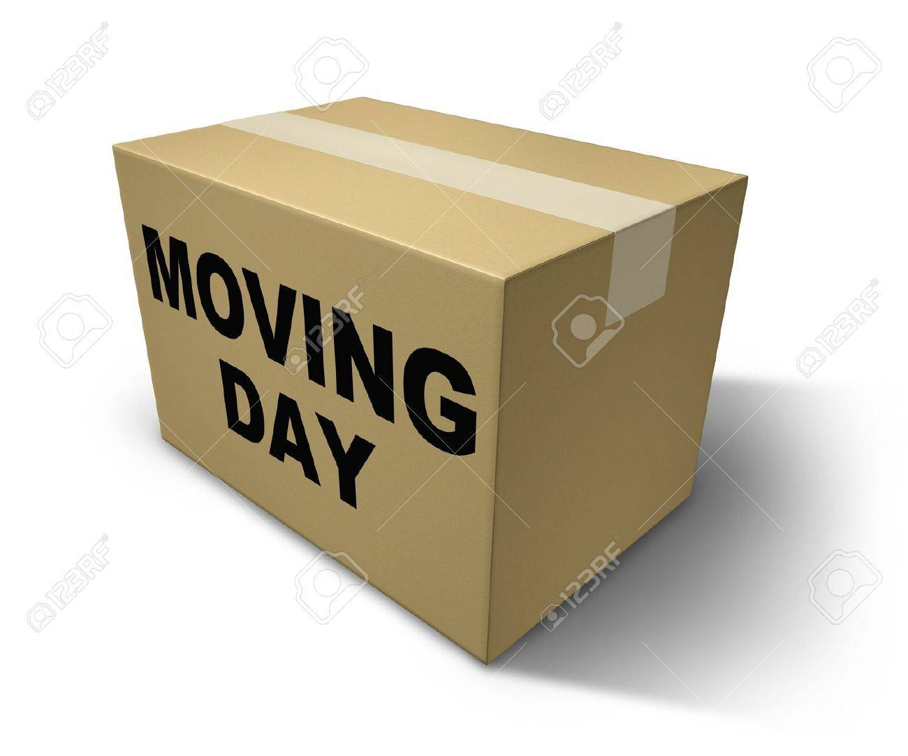 Moving day box representing movers and packaging for a move from one home to another Stock Photo - 10609220