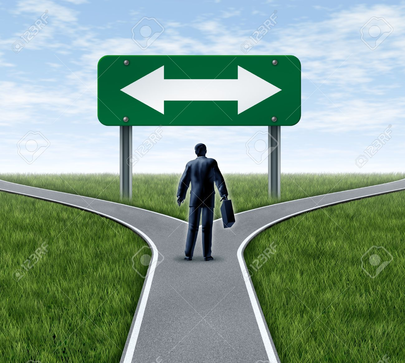 Decision time for a career with a business man at a cross roads and road sign with arrows showing a fork in the road representing the concept of a work dilemma choosing the direction to go when facing two equal or similar job options. - 10674643