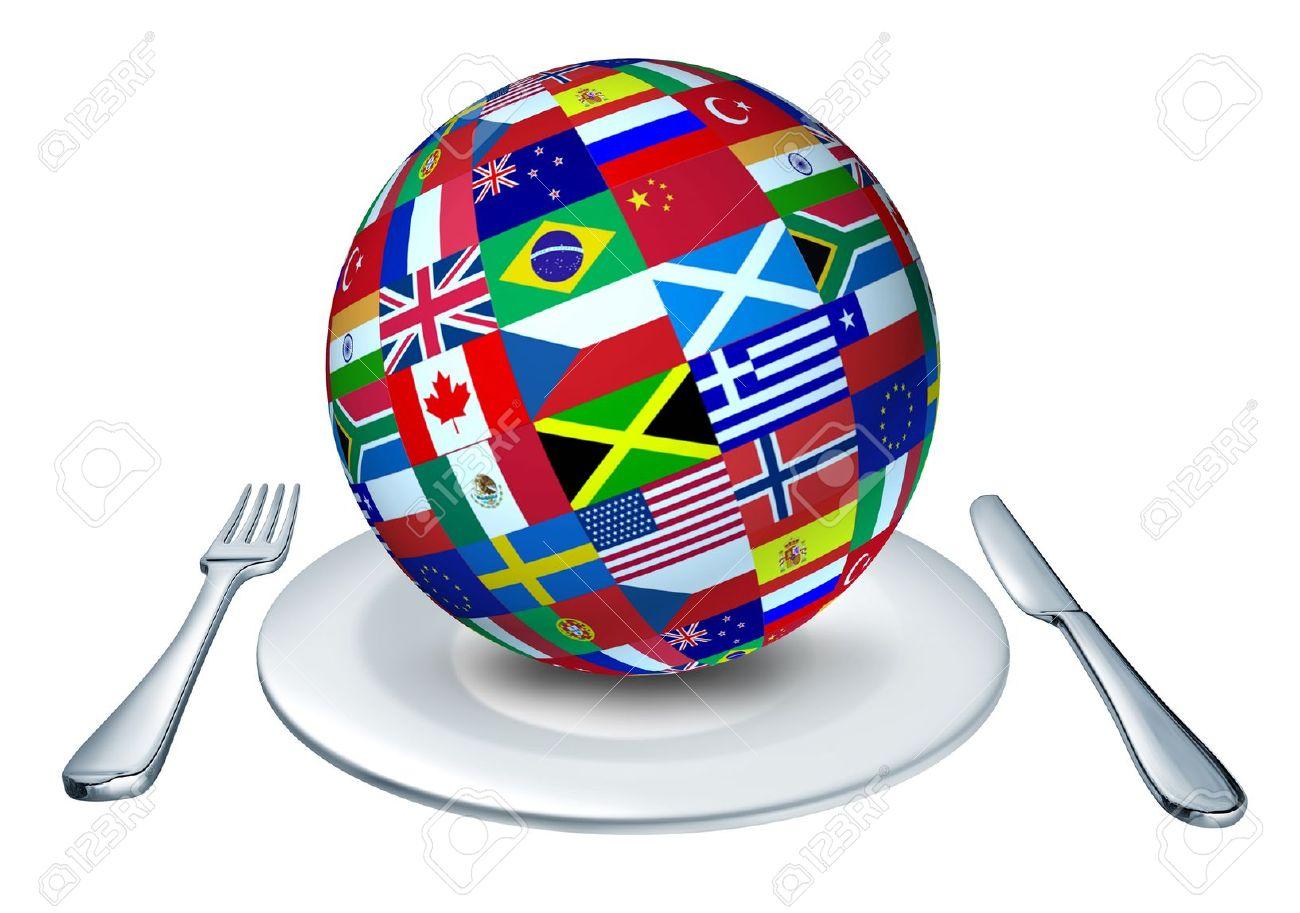 Internationale Küche   Internationale Kuche Die Von Einem Globus Mit Fahnen Aus Vielen