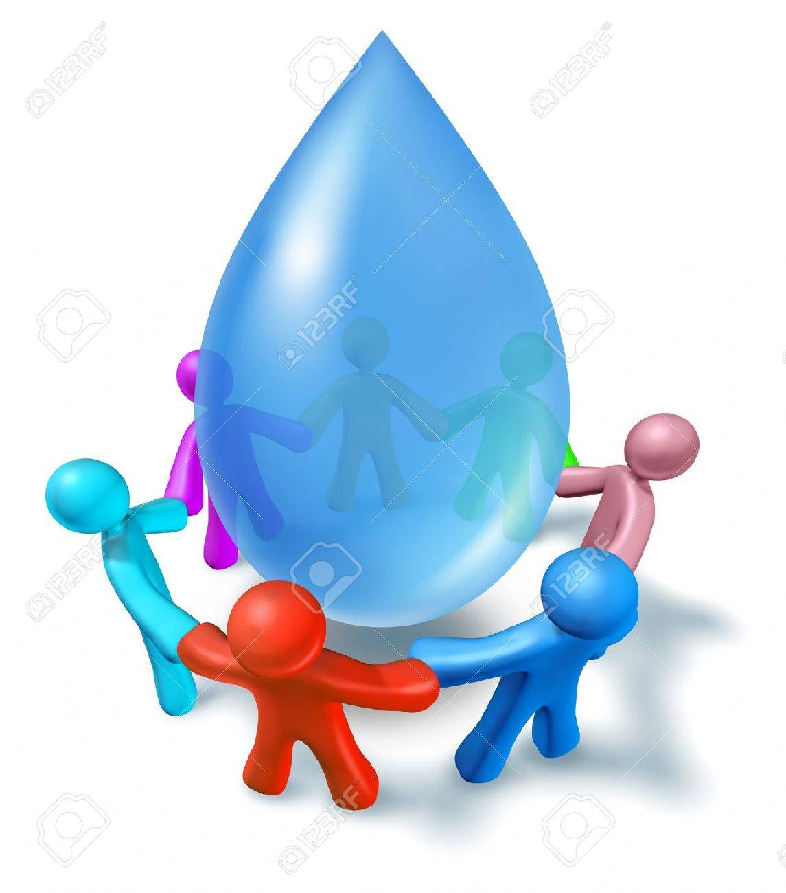 World water health network of world cooperation represented by a blue drop of h2o and human characters of different colors connected in a network holding hands showing people working together for clean drinking water. Stock Photo - 10743647