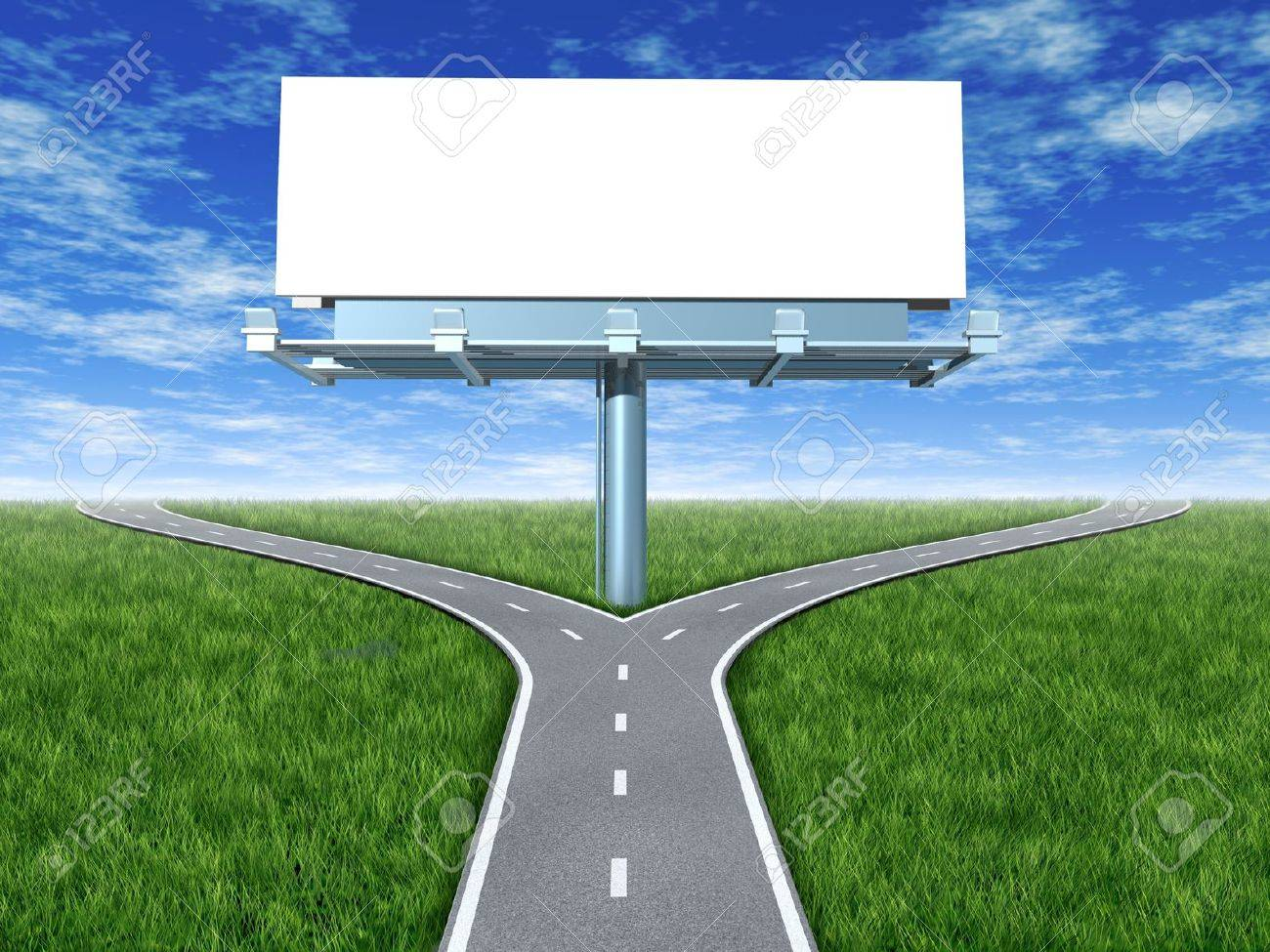 Cross roads with billboard in an outdoor display with grass and blue sky showing a fork in the road representing the concept of a strategic dilemma choosing the right direction to go when facing two equal or similar promotional options. - 10792825