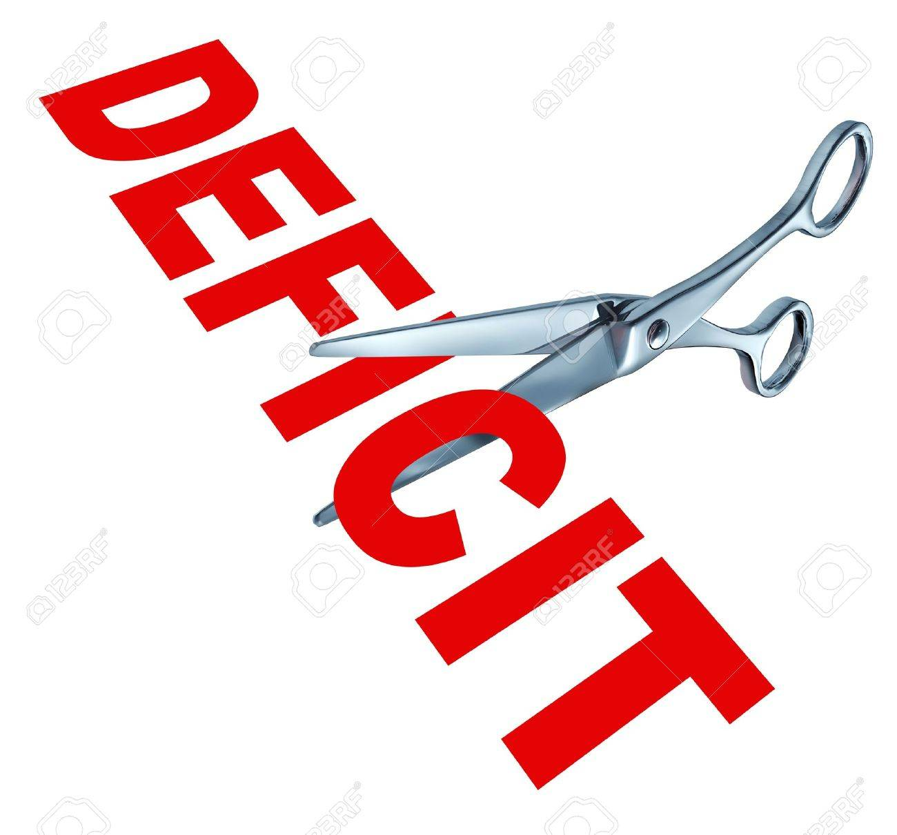 Cutting the deficit to balance the government financial budget due to the recession and other public debt crisis represented by open sharp scissors. Stock Photo - 10792809