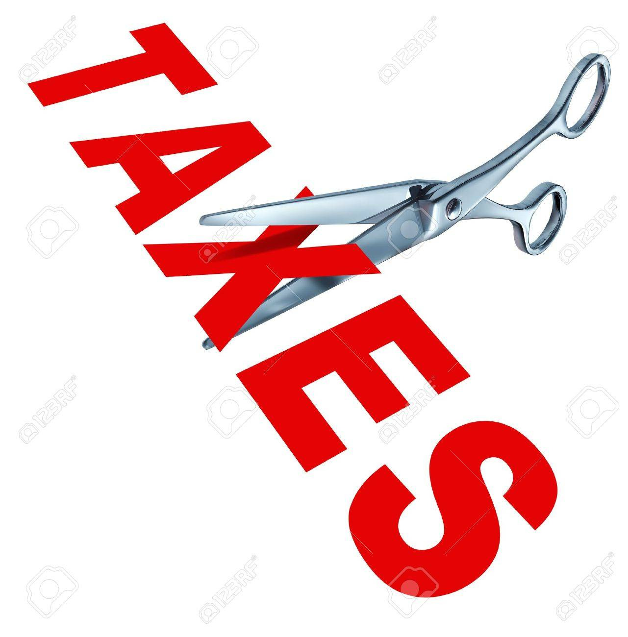 Tax cut and cutting taxes represented by metal scissors slashing the word taxes to show the concept of government political policy and campaign promisis to reduce the tax rate for the wealthy and the middle class tax payers. Stock Photo - 10792766