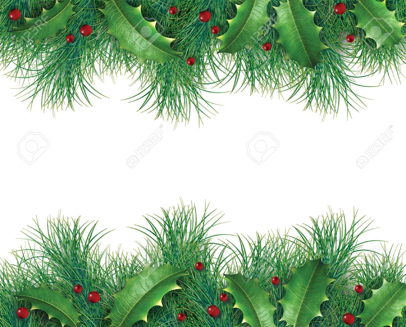 Holly christmas ornaments - Evergreen Garland Pine Branches With Holly And Red Berries For A Christmas Holiday Decorative Evergreen