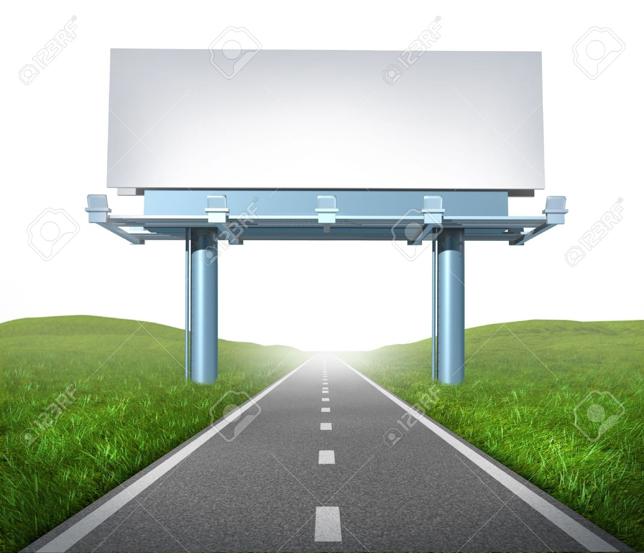 Blank highway billboard sign in an outdoor display showing a road representing the concept of focused advertising and marketing communications to clients and consumers to promote and sell a brand on white background. Stock Photo - 10843766