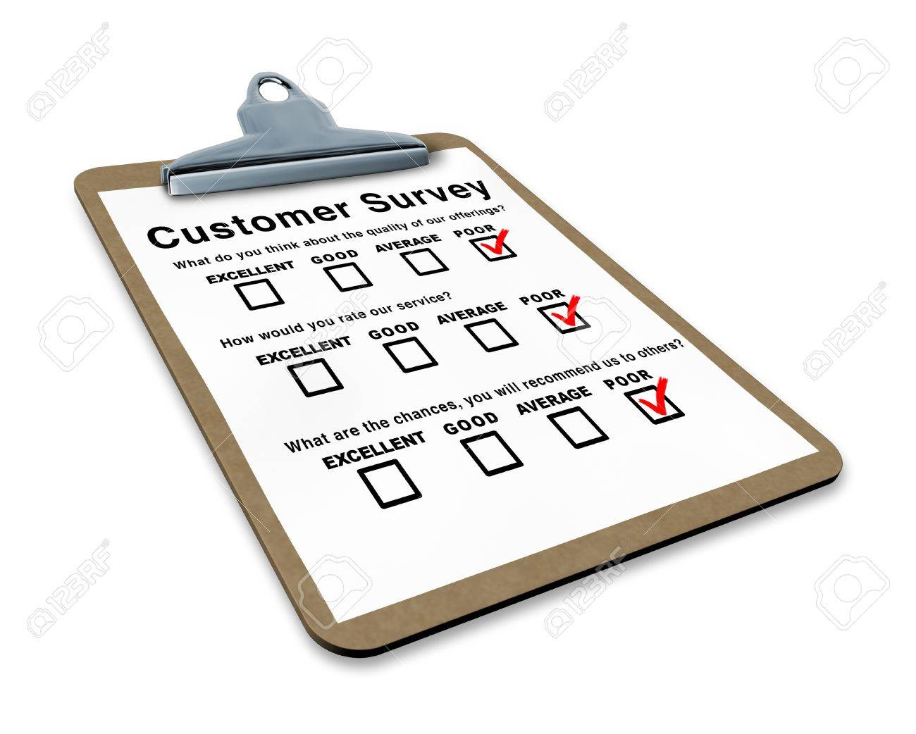 Poor customer survey on a clipboard representing terrible service questionnaire with blank feedback form for quality control Stock Photo - 10843731