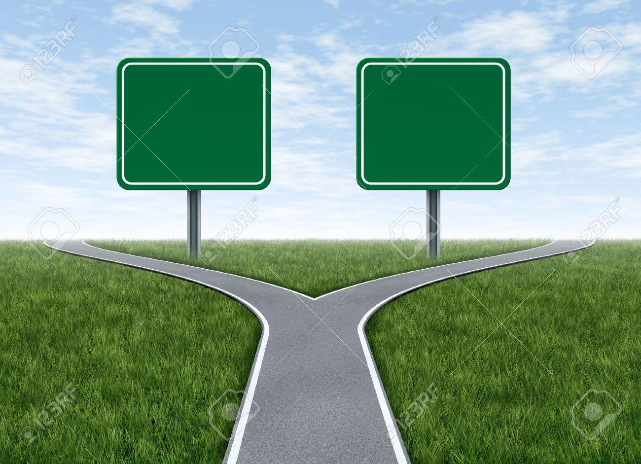 困難なジレンマに直面した後選ばれた方向に回転の分かれ道で表される ...