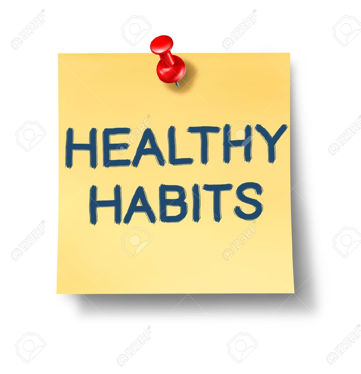 Healthy habits office note representing the concept of good health oriented behavior routine that involves mental and phisical health choices for human well being and a successful lifestyle. - 10892081