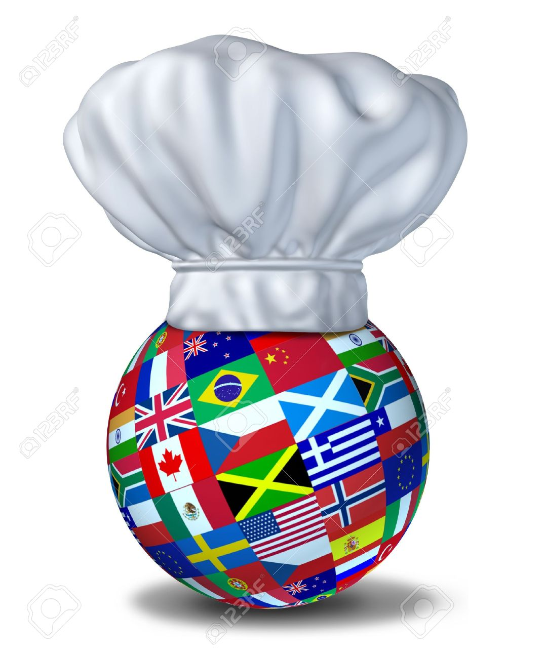 International foods and cuisines of the world represented by a restaurant chef hat and flags of countries on a sphere resting on the floor. Stock Photo - 10892109