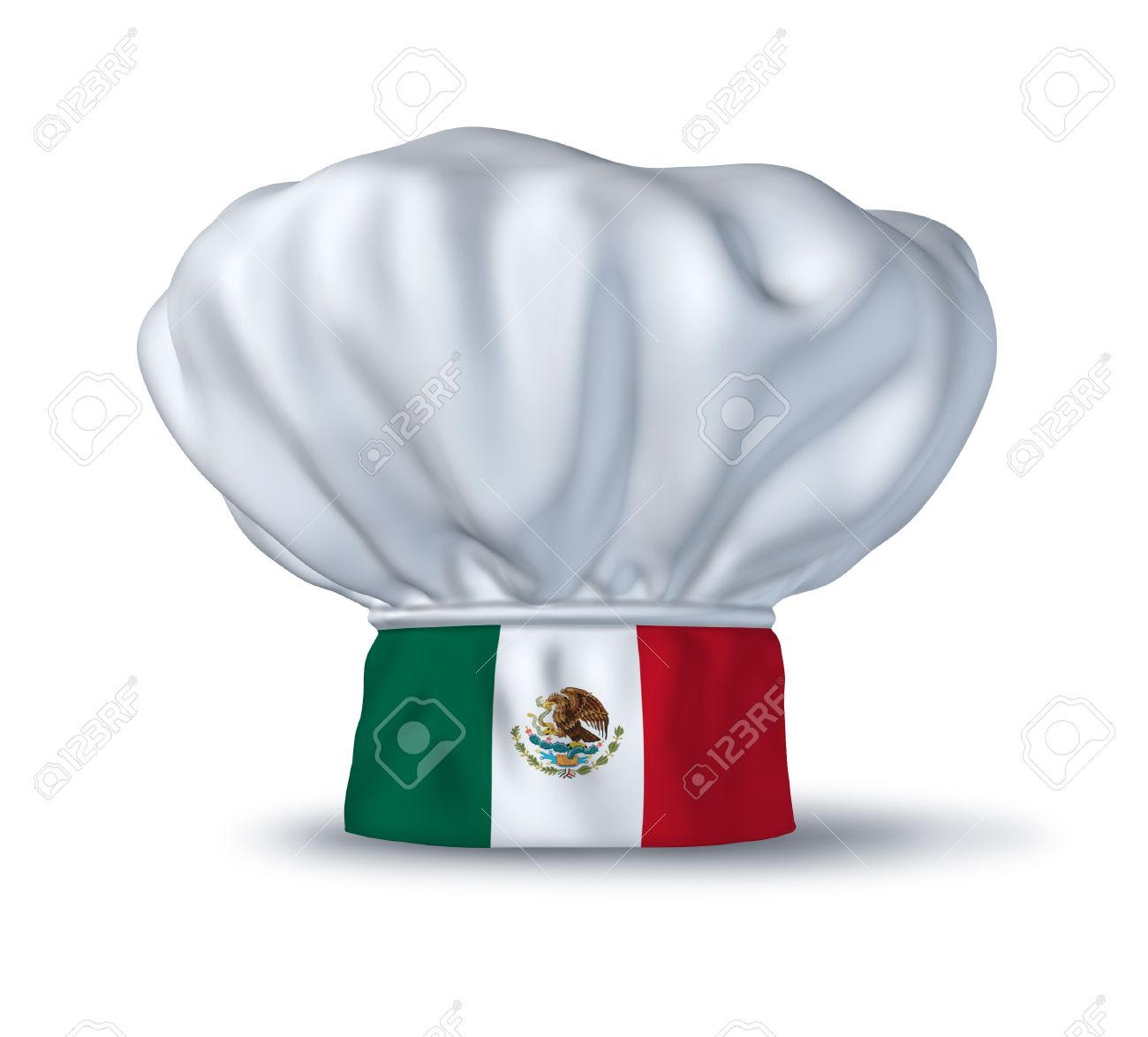 Mexican Food Symbol Represented By A Chef Hat With The Flag Of