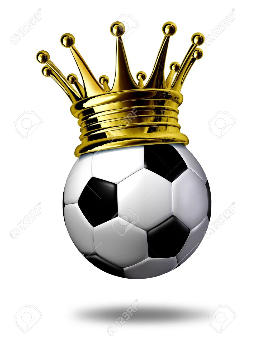 Soccer champion symbol represented by a golden crown on a black and white soccer ball or as called in Europe a football representing the winning of a tournament or game. Stock Photo - 10892107