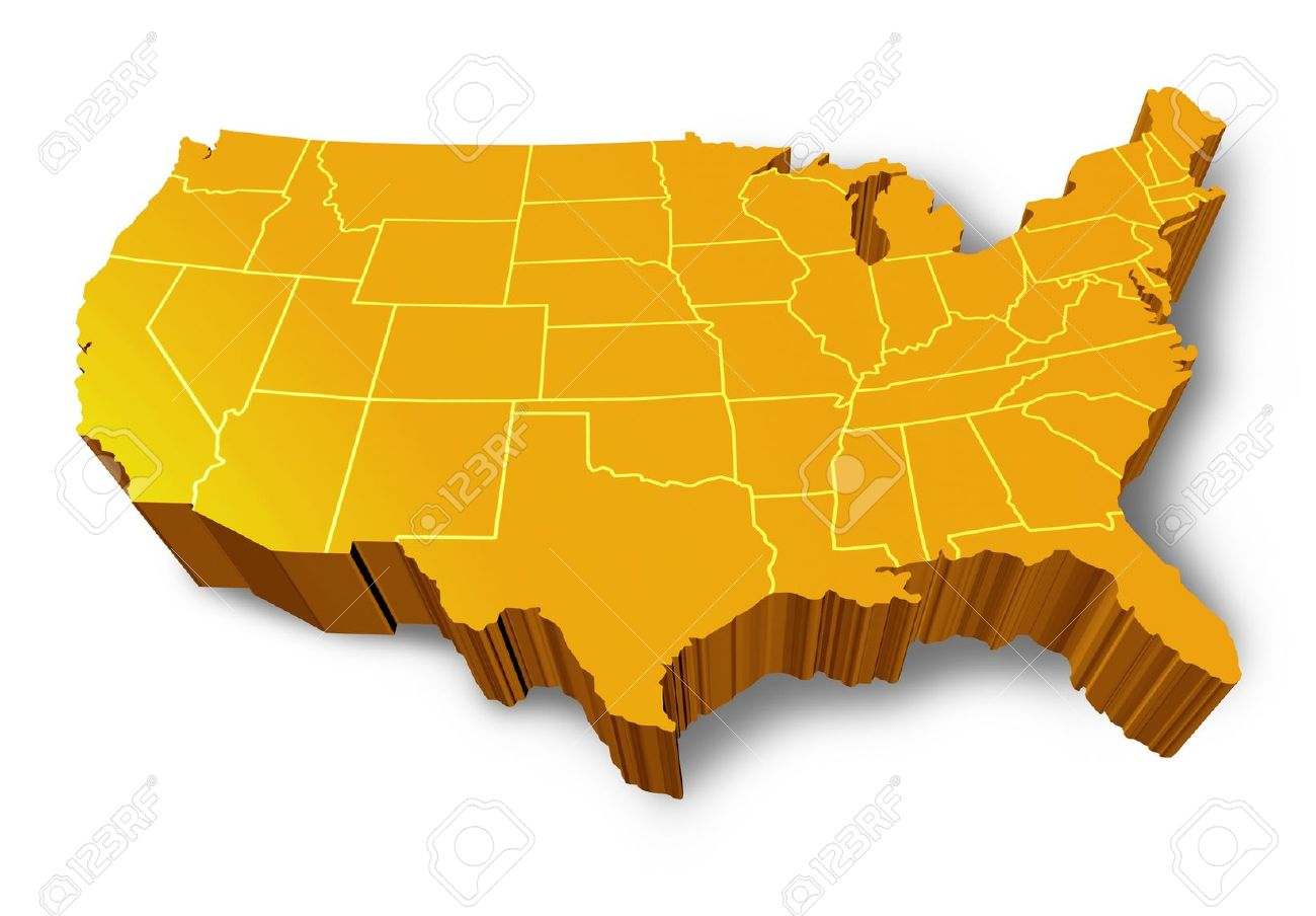 U.S.A 3D Map Symbol Represented By A Gold And Yellow Dimensional