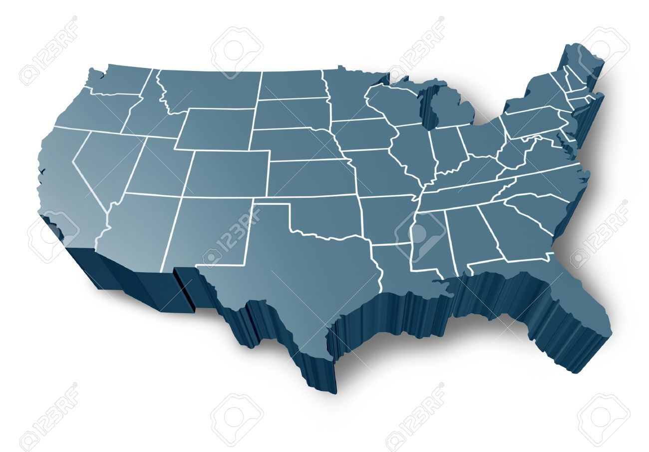 U.S.A 3D Map Symbol Represented By A Grey Dimensional United