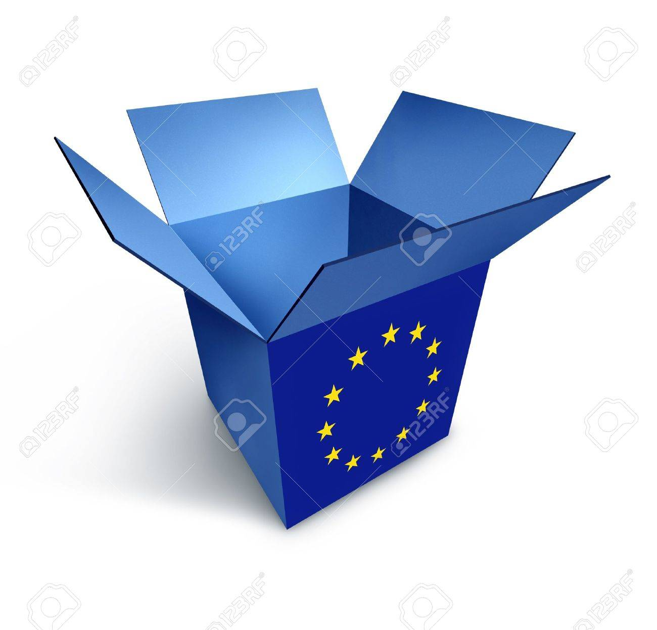 European Economy Symbol Represented By A Blue Box With The Flag
