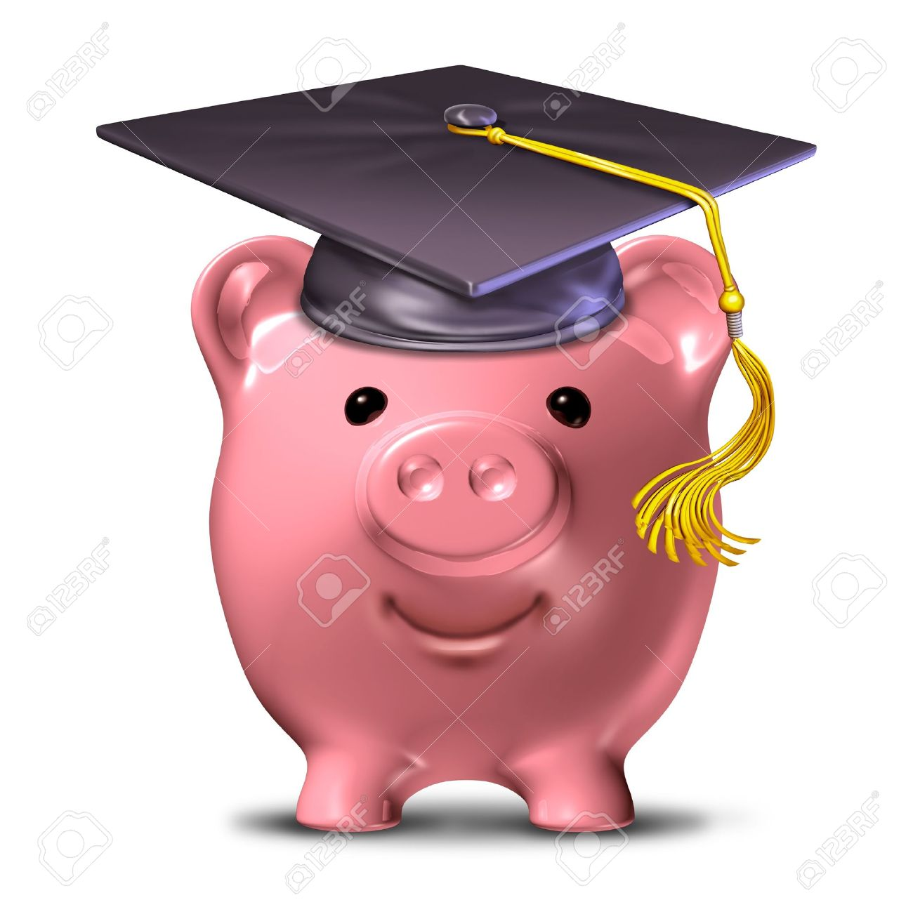 Saving for an education represented by a graduation cap and school mortar board on a pink savings piggy bank. Stock Photo - 10892096