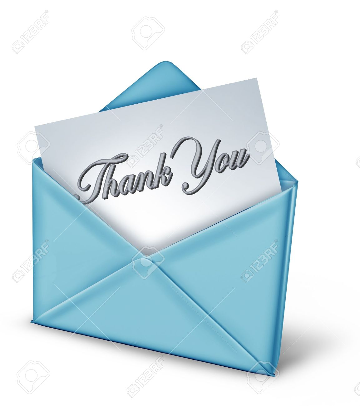 thank you note in a blue envelope representing gratitude and stock photo thank you note in a blue envelope representing gratitude and appreciation for a friendly act from family and great helpful long time friends