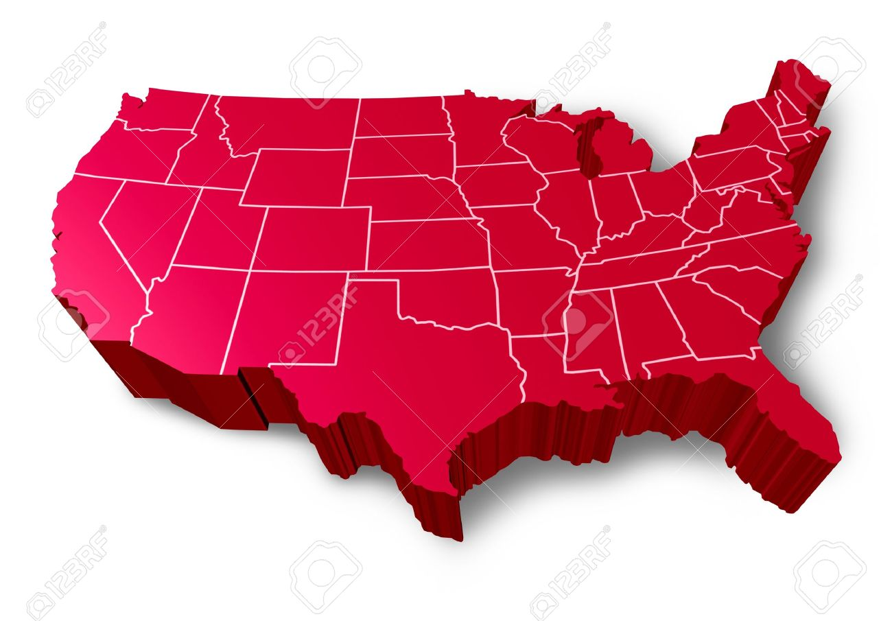 USA D Map Symbol Represented By A Red Dimensional United States - 3d map usa states