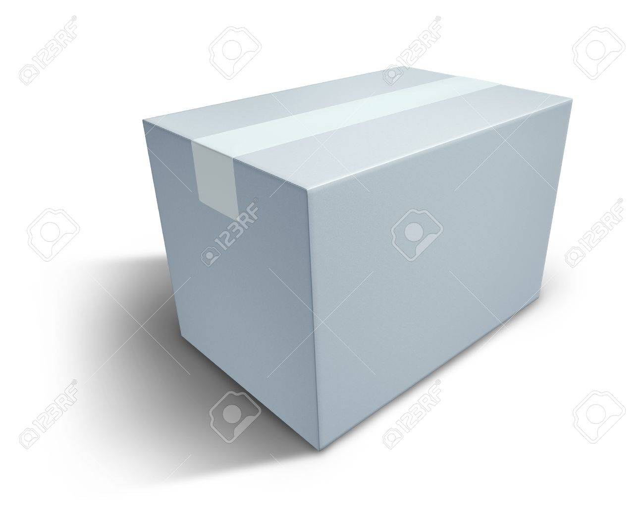 White box with blank  packaging representing the concept of delivering a package that is sealed. Stock Photo - 10892089
