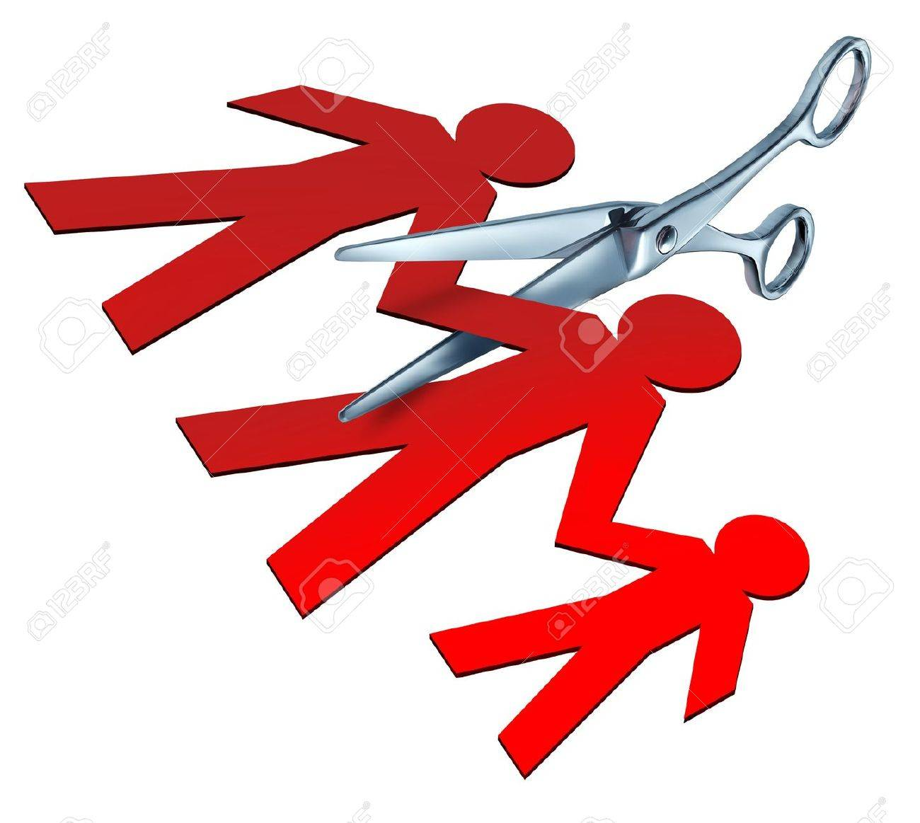 Broken family and child custody after a bitter divorce and separation represented by a pair of metal scissors cutting apart a family of red paper cut outs of a mother father and child showing the concept of division and alienation. Stock Photo - 10892151