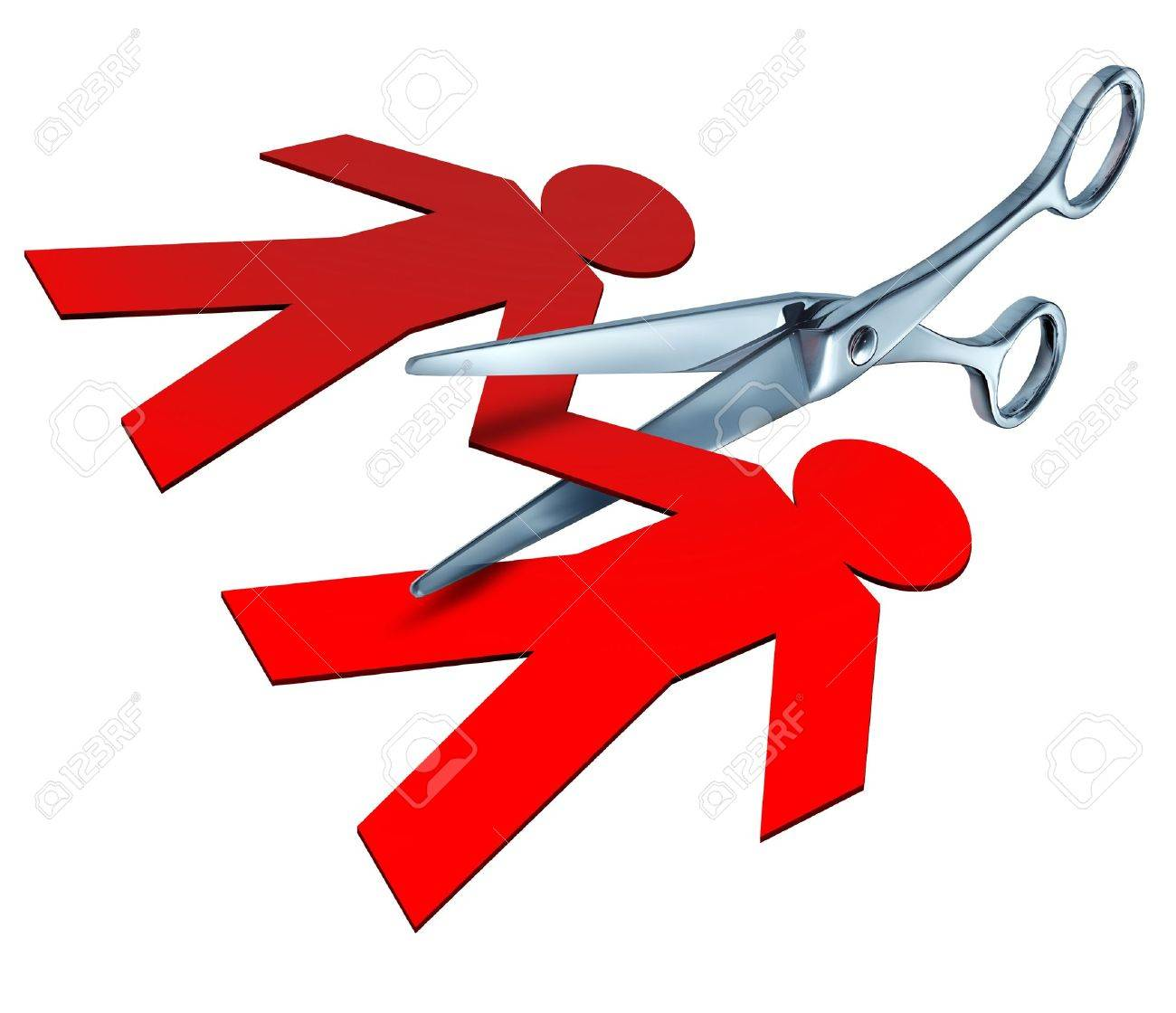 Divorce and separation represented by a pair of metal scissors cutting into a red paper cut out of a couple of people representing the break up and cutting the ties of an ending relationship between a husband and a wife. Stock Photo - 10892150