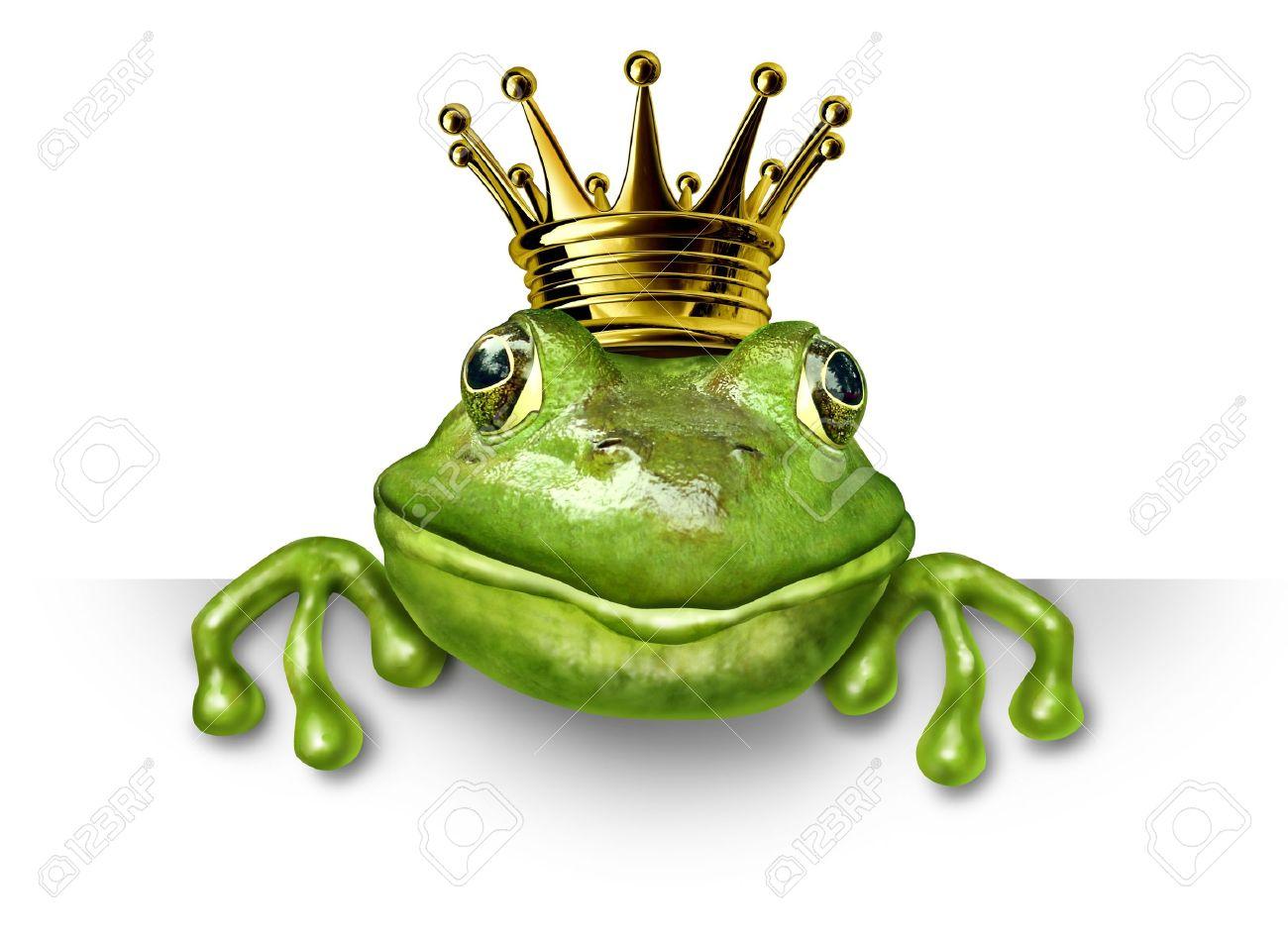 Grenouille Couronne prince grenouille avec une couronne d'or petite avec une pancarte