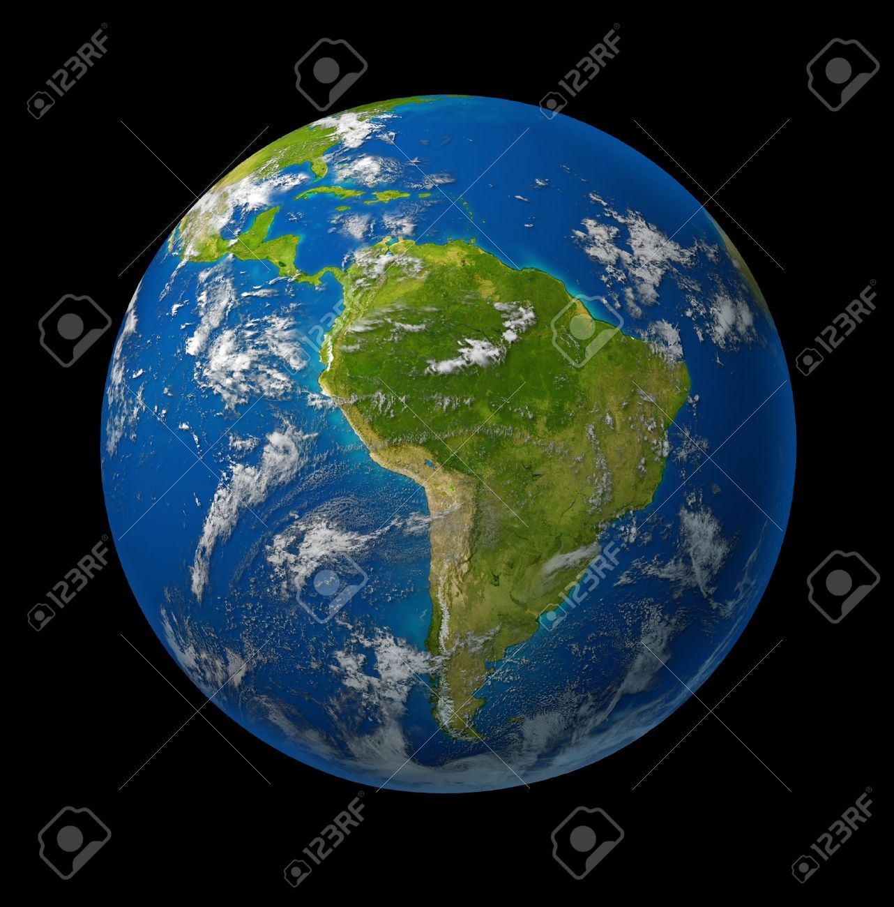 South America earth globe planet on black space background featuring america and latin american countries surrounded by blue ocean and clouds. Stock Photo - 10892164