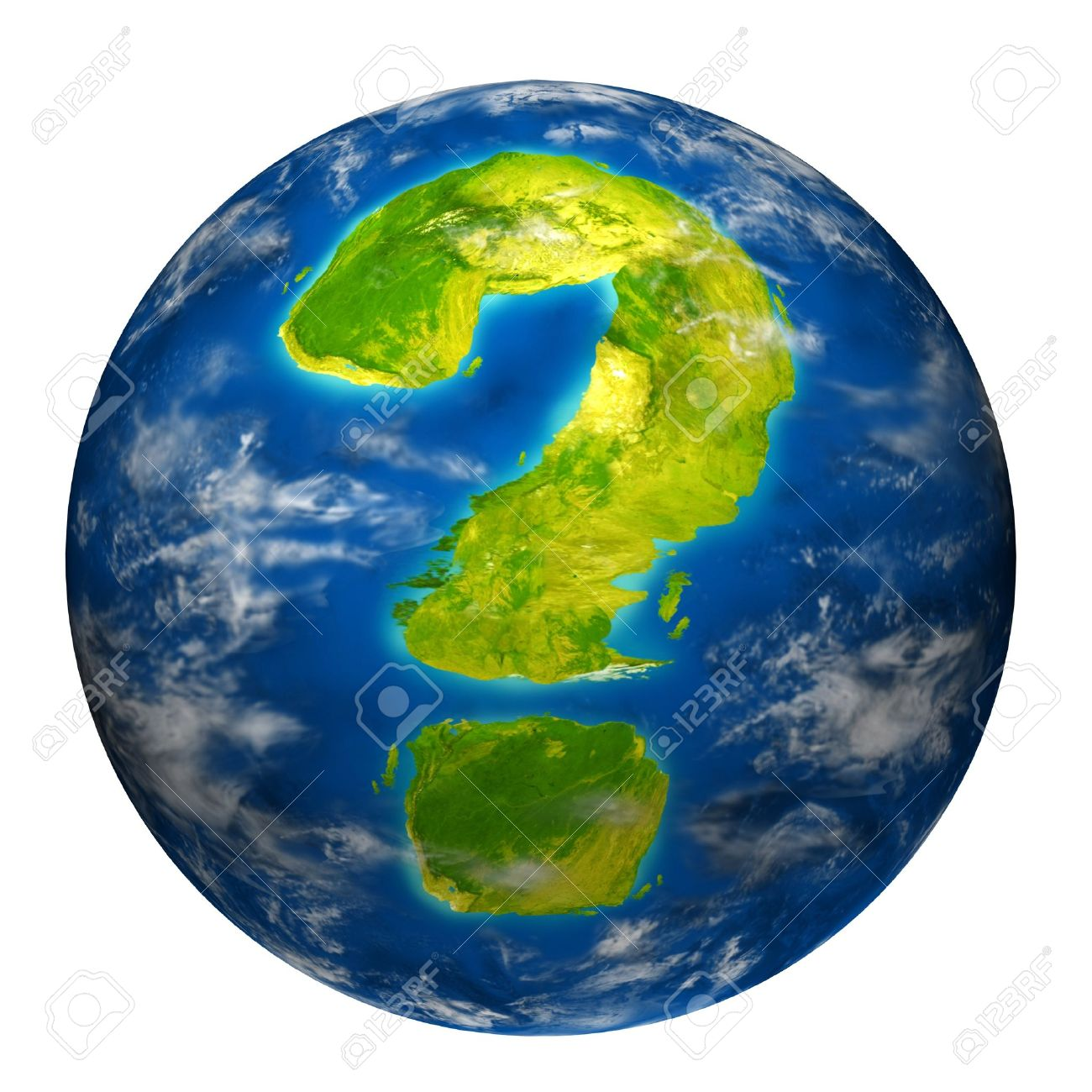Earth question symbol represented by a world globe model with a geographic shape of a mark questioning the state of the environment the international economy and political situation. Stock Photo - 10909946