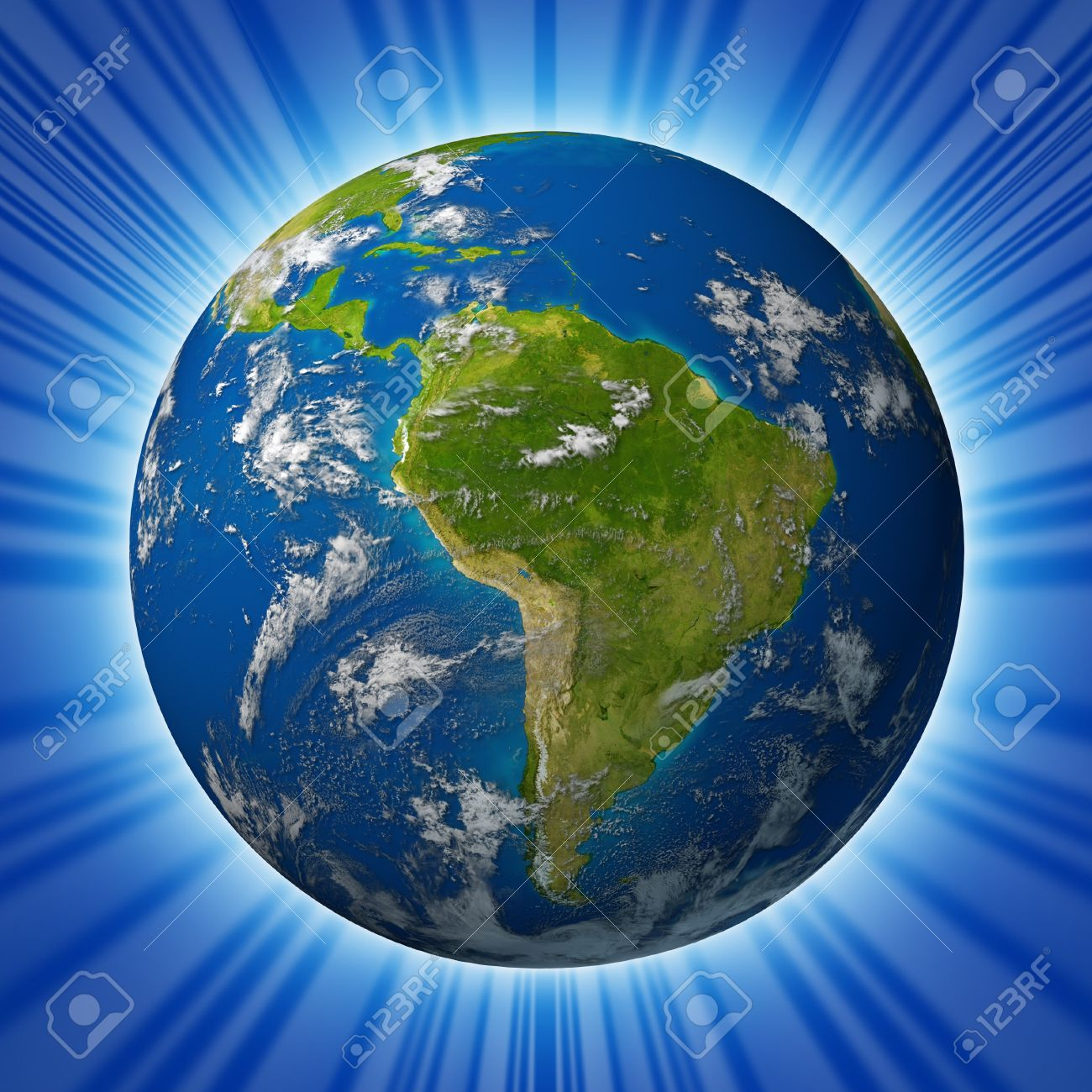 Earth planet featuring South america and latin american countries surrounded by blue ocean and clouds isolated on radial background. Stock Photo - 10909987