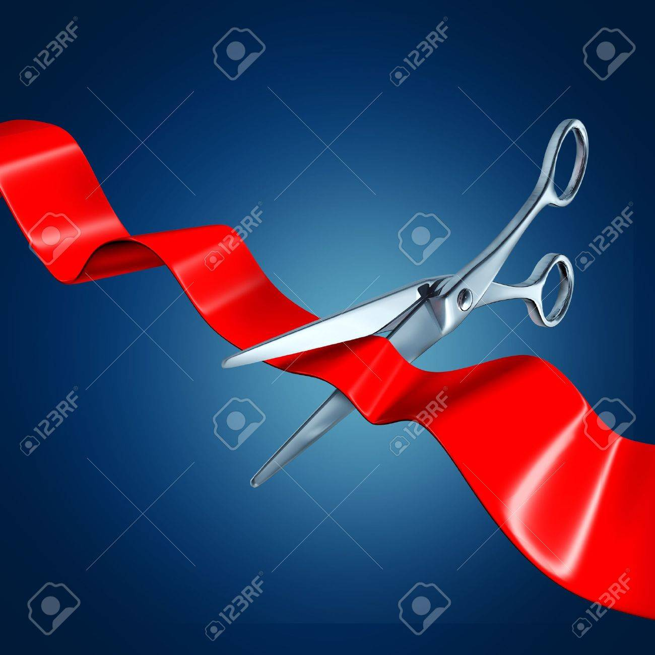 Cutting the ribbon with a blue background representing a grand opening event. Stock Photo - 10909936
