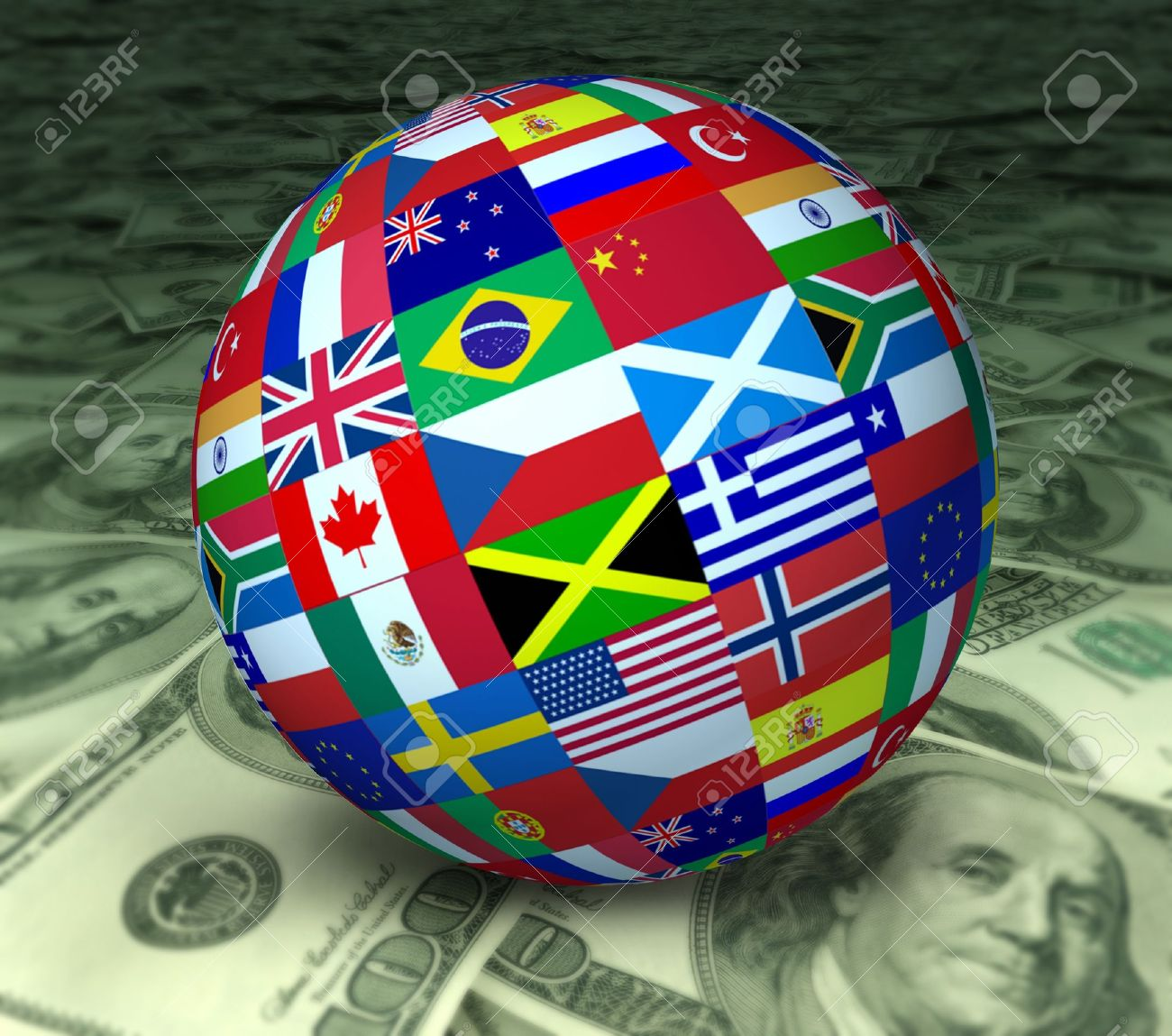 World economy symbol represented by a global sphere with international flags sitting on a floor of currency. Stock Photo - 10909966